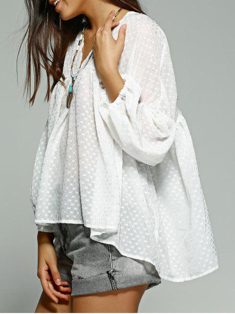 ladies Polka Dot White Long Sleeve Blouse - WHITE M Mobile
