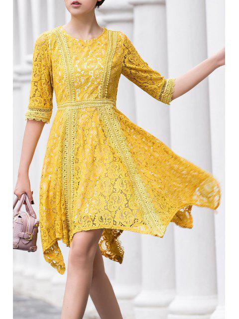 outfits Round Neck Irregular Hem Lace Skater Dress - YELLOW M Mobile