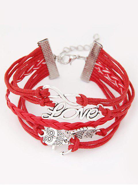 trendy Owl Infinity Anchor Strand Bracelet - RED  Mobile