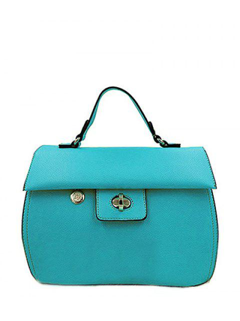 trendy PU Leather Metal Hasp Tote Bag - LAKE BLUE  Mobile