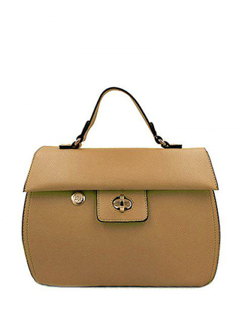 chic PU Leather Metal Hasp Tote Bag - KHAKI  Mobile