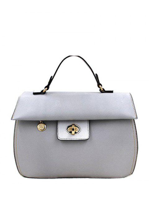fancy PU Leather Metal Hasp Tote Bag - GRAY  Mobile