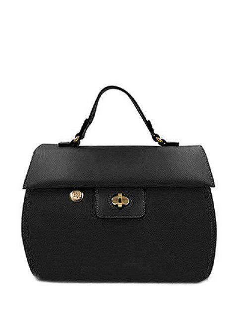 unique PU Leather Metal Hasp Tote Bag - BLACK  Mobile