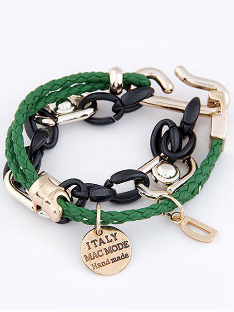 buy Disc Letter Braided Bracelet - GREEN  Mobile