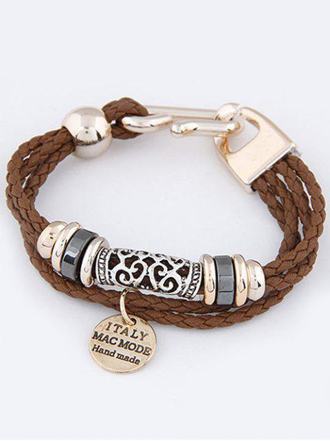 womens Layered Disc Braided Bracelet - BROWN  Mobile