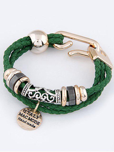 Bracelet Tressé à Plusieurs Branches avec Pendentif en Forme de Disque - Vert  Mobile