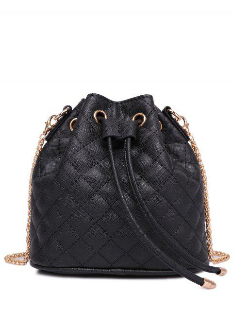 chic Checked Stitches Chains Crossbody Bag - BLACK  Mobile
