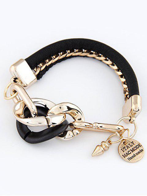 online Disc Engraved Braided Bracelet - BLACK  Mobile