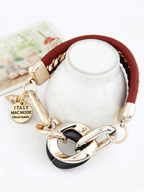 new Disc Engraved Braided Bracelet - WINE RED  Mobile