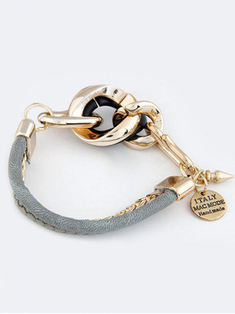 outfit Disc Engraved Braided Bracelet - GRAY  Mobile