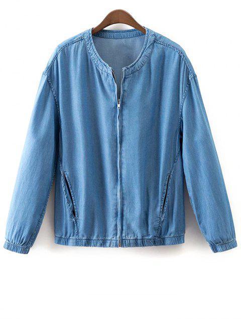 fashion Solid Color Stand Collar Denim Coat - LIGHT BLUE S Mobile
