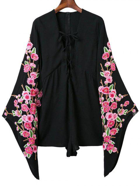 Plongeant Neck Floral Lace Up Romper - Noir S Mobile