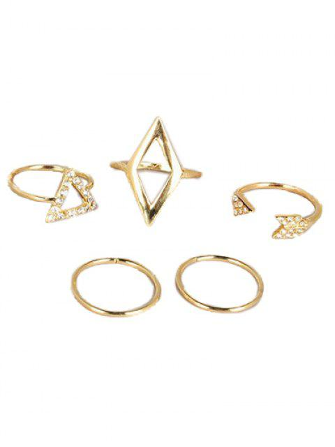 shop Cut Out Rhinestone Geometric Ring Set - GOLDEN  Mobile