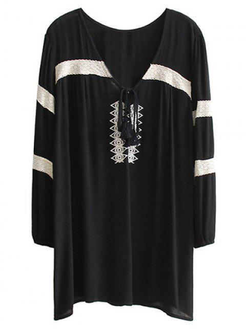 women's Embroidered V Neck Long Sleeve Mini Dress - BLACK L Mobile