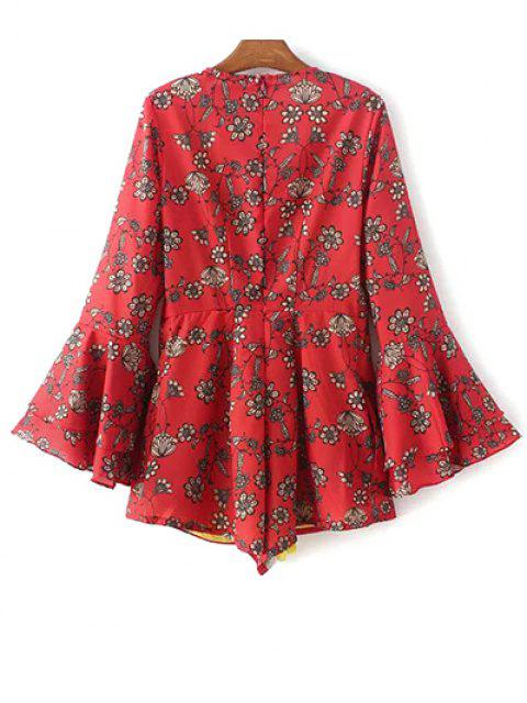 women Printed Plunging Neck Bell Sleeve Romper - RED S Mobile