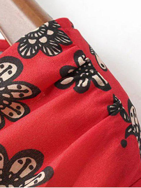 Combishorts imprimés à col plongeant à manches lanternes - Rouge S Mobile