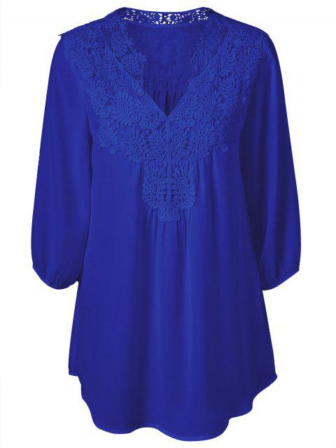 Übergröße Tunika Bluse mit Häkeln Trimm - Saphir Blau L Mobile