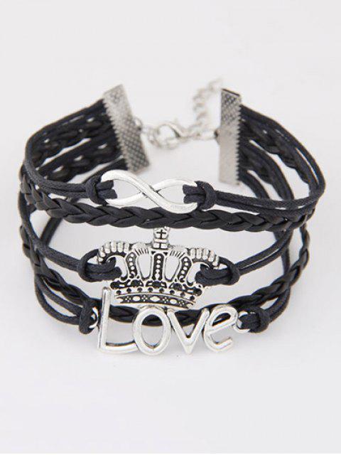 buy Infinity Crown Braided Bracelet - BLACK  Mobile