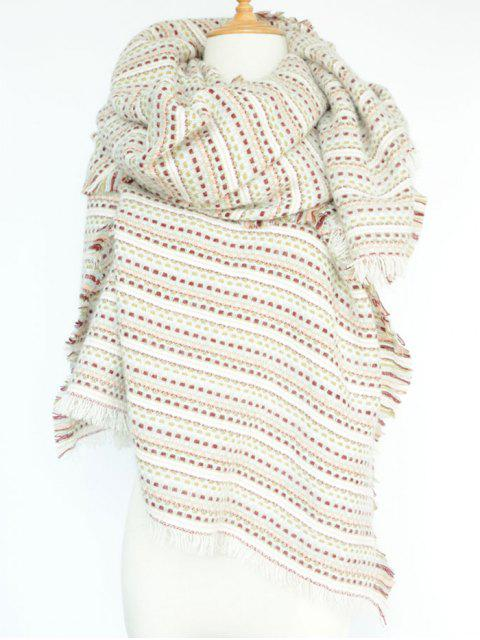 womens Plaid Stripe Fringed Pashmina -   Mobile