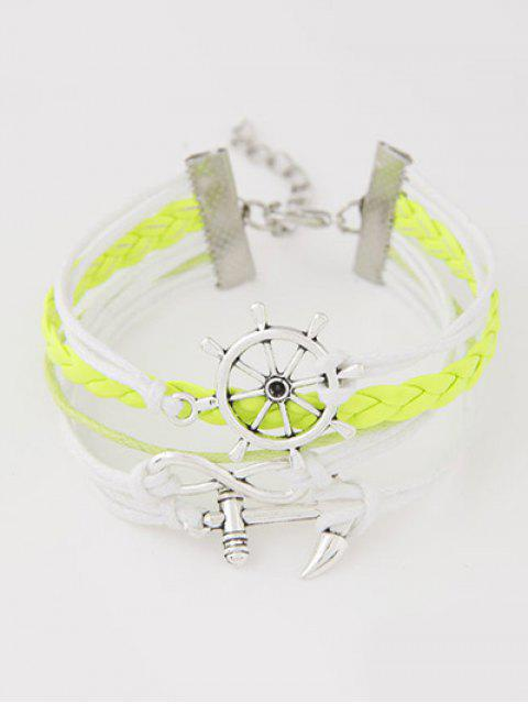 lady Anchor Rudder Infinity Layered Bracelet - YELLOW  Mobile
