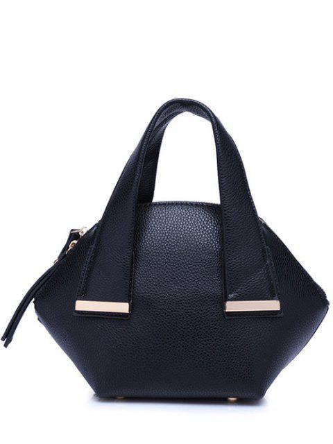 outfit Metal Trim Dark Color Tote Bag - BLACK  Mobile