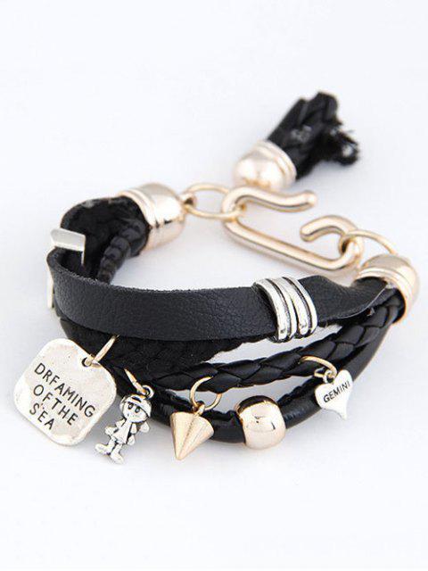 online Faux Leather Engraved Braided Bracelet - BLACK  Mobile