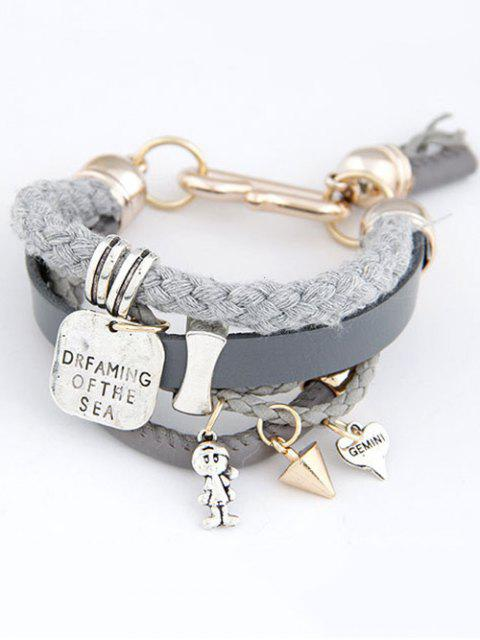 outfits Faux Leather Engraved Braided Bracelet - GRAY  Mobile