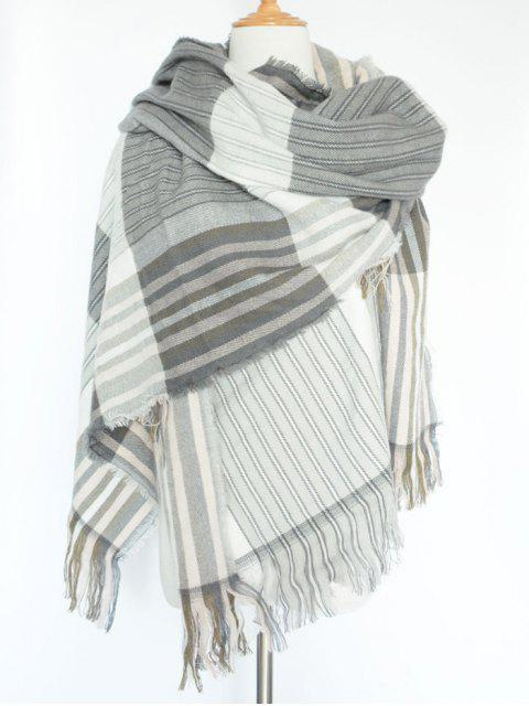 shop Stripe Fringed Pashmina - GRAY  Mobile