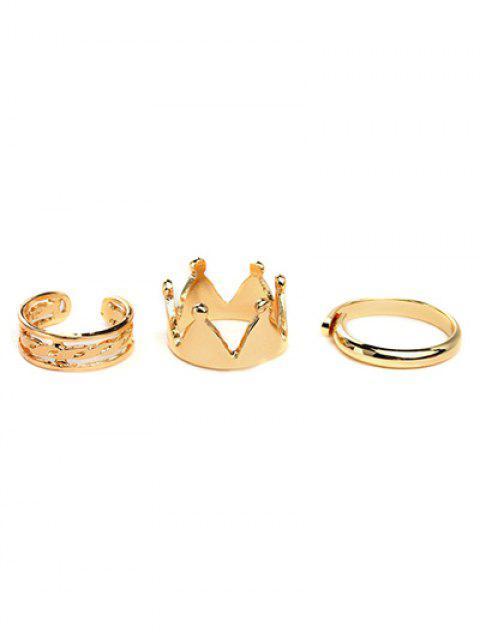 fashion Crown Ring Set - GOLDEN  Mobile