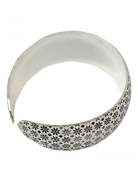 latest Flower Engraved Cuff Bracelet - SILVER  Mobile