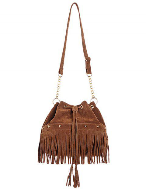 sale Solid Color Fringe Rivet Crossbody Bag - BROWN  Mobile