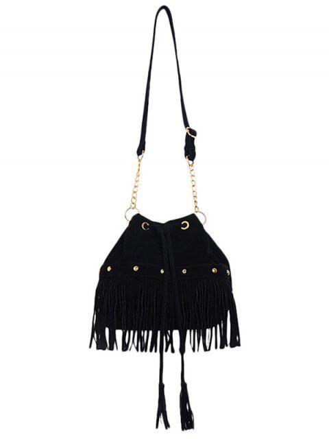 buy Solid Color Fringe Rivet Crossbody Bag - BLACK  Mobile