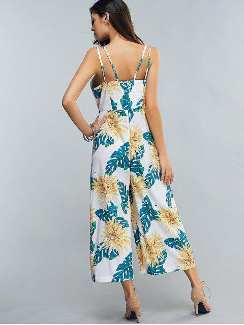trendy Full Floral Print Cami Chiffon Jumpsuit - COLORMIX 2XL Mobile