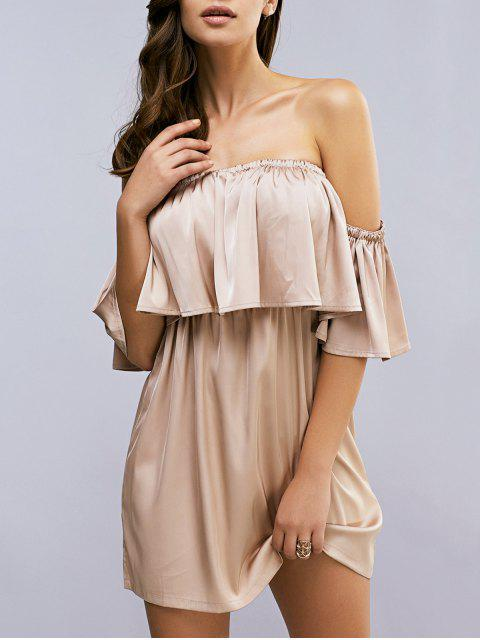 Weg von der Schulter Flouncing Spliced kurzärmelige Kleid - Helles Khaki 2XL Mobile