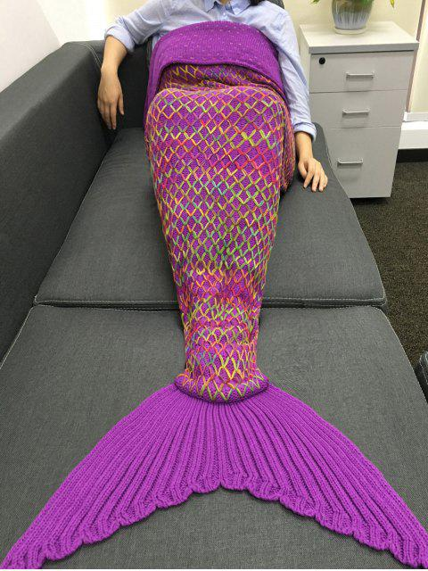 buy Rhombus Design Knitting Mermaid Blanket - PURPLE  Mobile