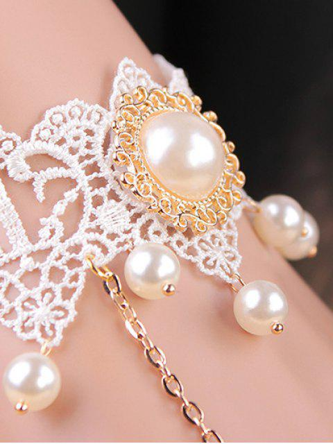 trendy Lace Faux Pearl Bracelet with Ring -   Mobile