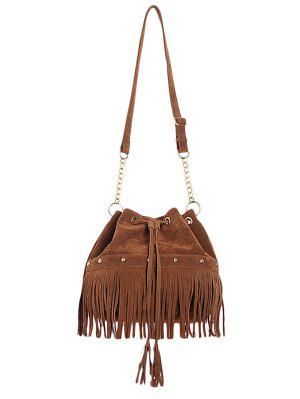 Solid Color Fringe Rivet Crossbody Bag