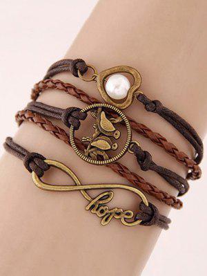 Bracelet Tressé à Coeur Perle et Oiseaux