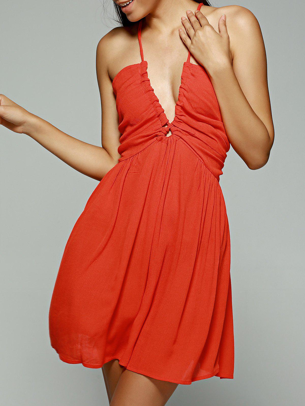 Orange Red Plunging Neck Sleeveless Chiffon Dress 188089002