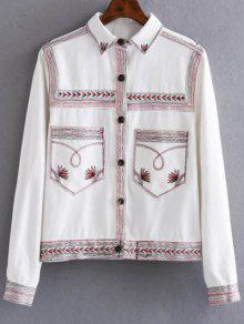 Flat Collar Embroidered Denim Coat - White S