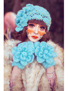 فو اللؤلؤ مطرز الكروشيه قبعة - الثلج الأزرق