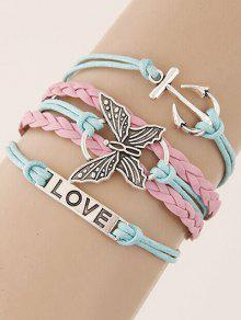 Buy Anchor Butterfly Braided Bracelet - COLORMIX