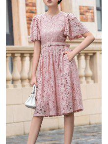 فستان دانتيل توهج مربوط - زهري L