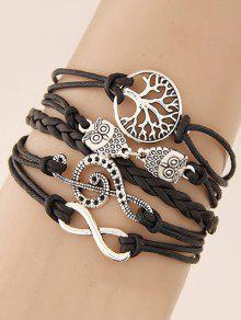 Tree Of Life Owl Braided Bracelet - Black