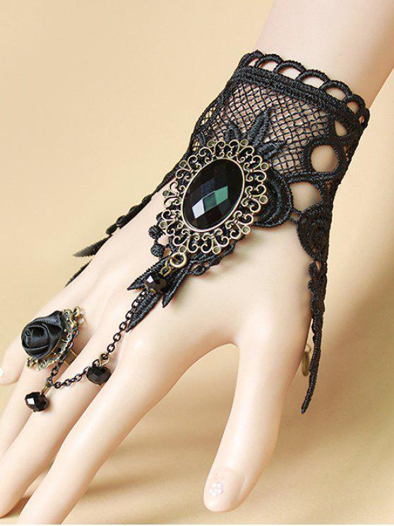 best Lace Bracelet with Rose Ring - BLACK