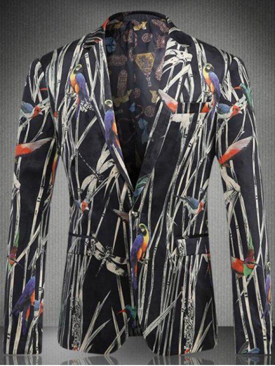 Vogel-Pflanze gedruckt Brusttasche Revers Langarm-Knopf-Blazer für Männer - Schwarz 3XL
