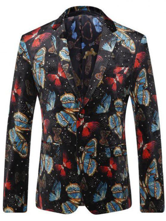 Schmetterling um Brust-Tasche Revers Langarm-Blazer für Männer - Schwarz L