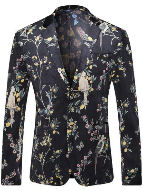 Brust-Tasche mit Blumenmuster Revers Langarm-Blazer für Männer - Schwarz XL