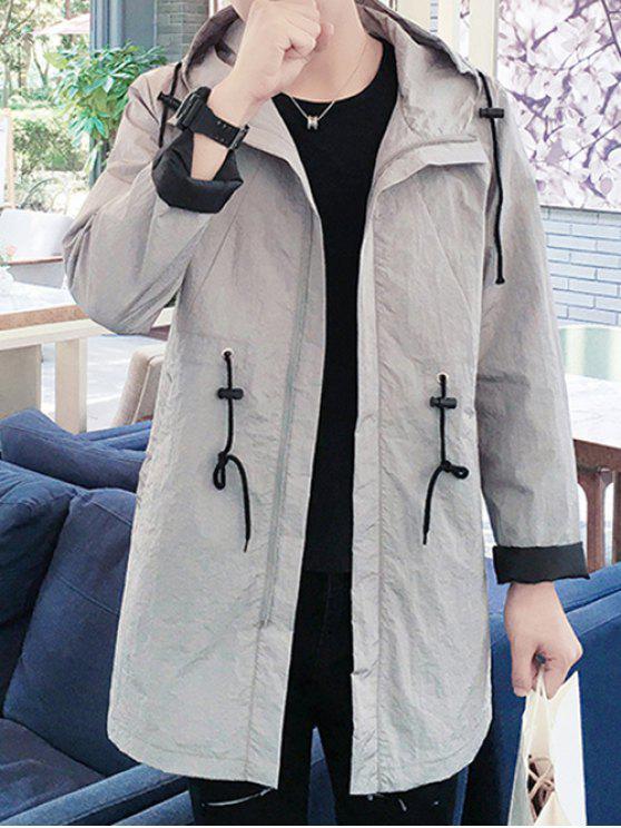 buy Hooded Solid Color Lengthen Drawstring Design Long Sleeve Coat For Men - GRAY XL