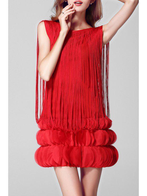 Tassel Petal Bühne Minikleid - Rot Einheitsgröße(Geeign